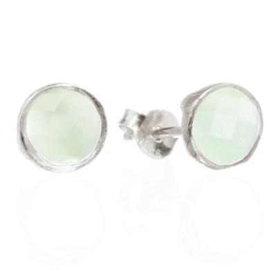 Classic Silver Stud Earrings- Diamond