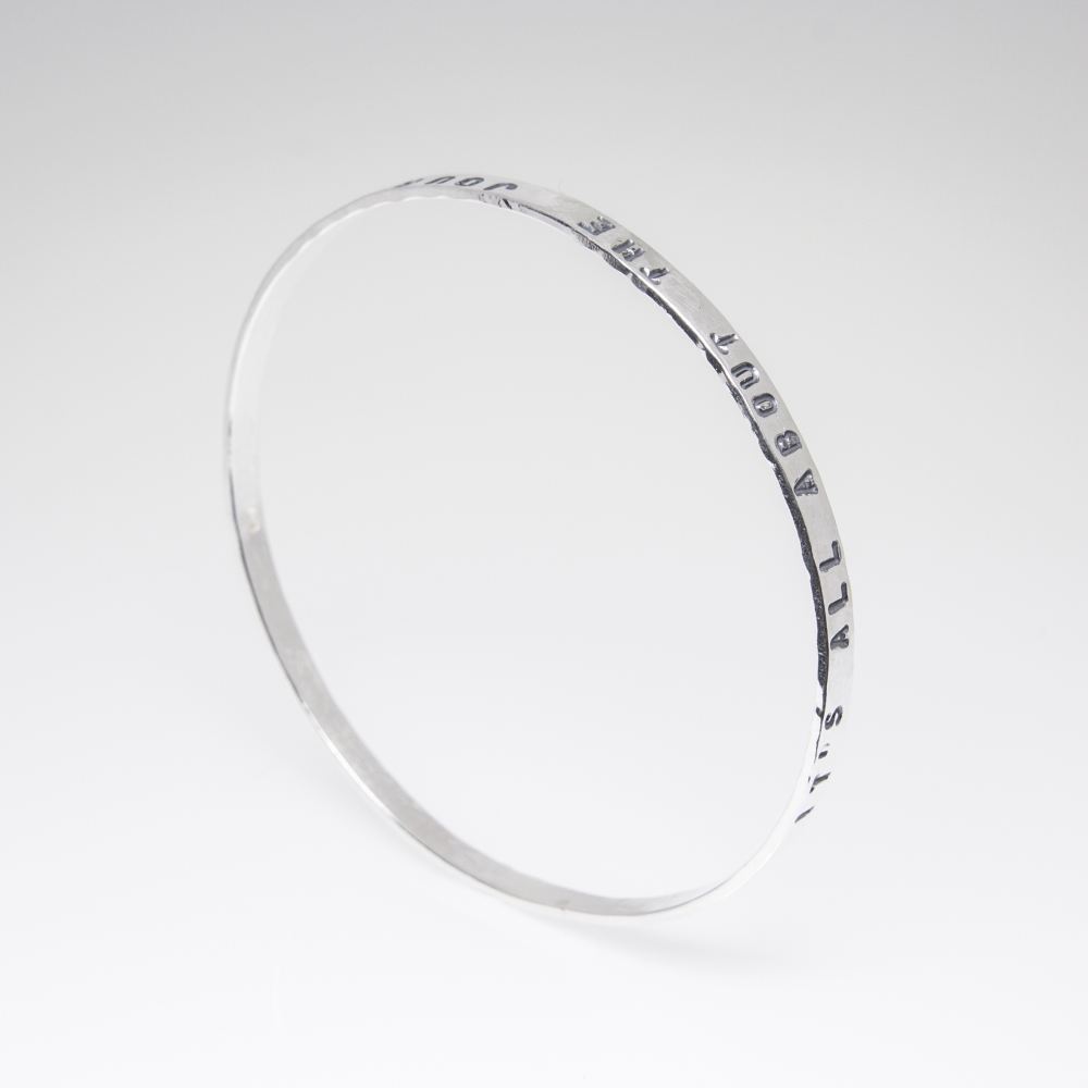 Solid Silver Bangle with Personalised Prints