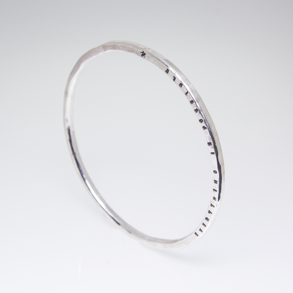 Sterling Silver Bespoke Bangle- Personalised Prints