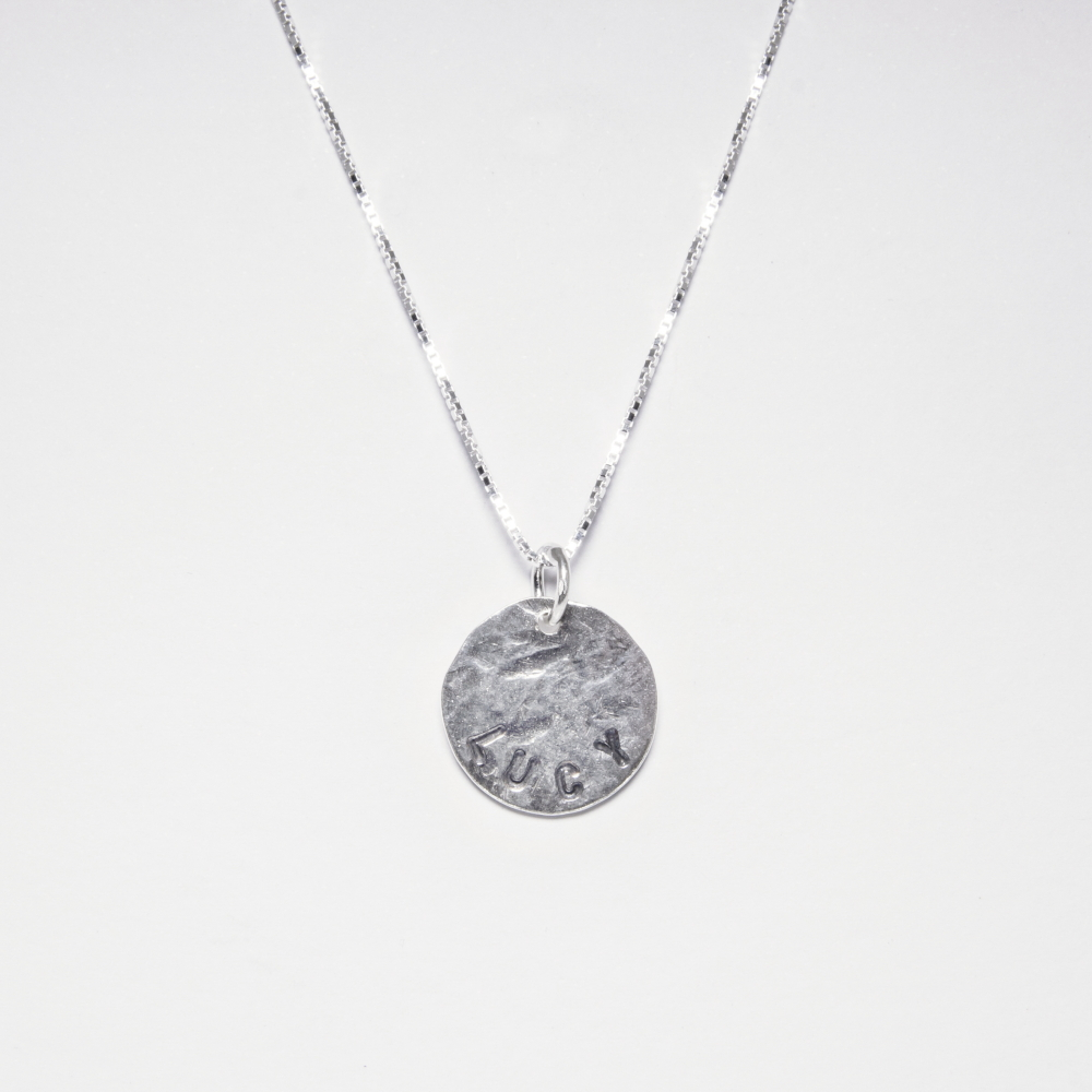 Personalised Pendant Disc Necklace- Sterling Silver