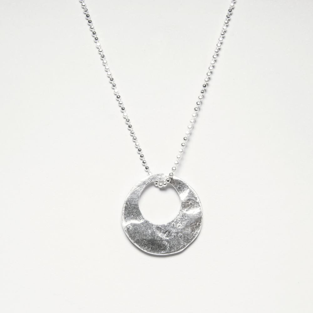 Bespoke Silver Necklace with Circle Disc Pendant