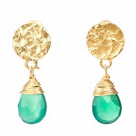 Classic Drop Earrings- Gold with Blue Diamond