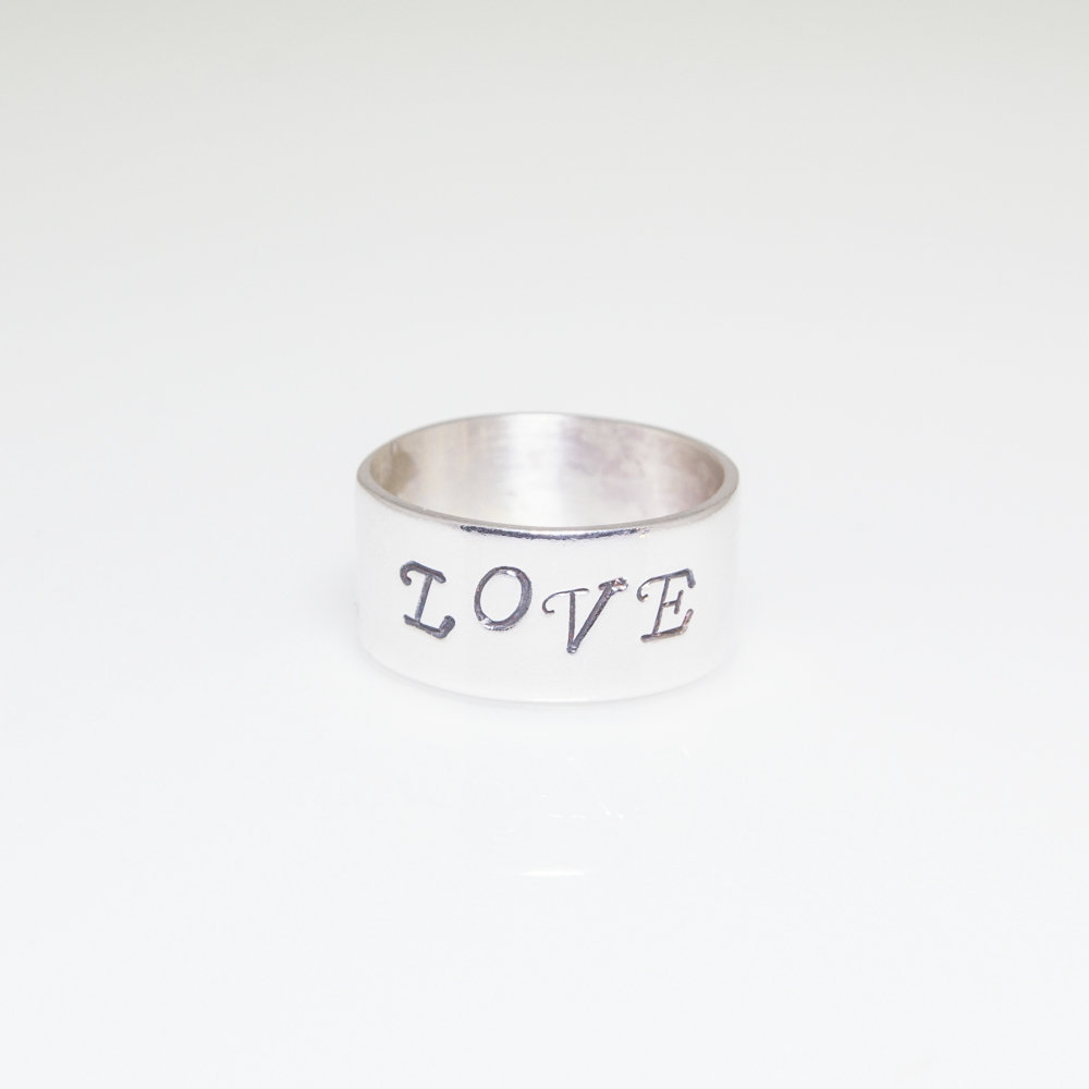 Sterling Silver Ring With Personalised Print
